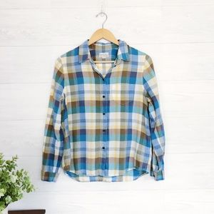 Madewell Blue Tan Plaid Button Down Flannel